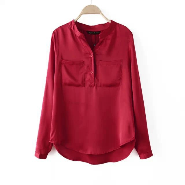 European Style Fashion Wine Color Woman Shirt Women Tops V-neck Female Ladies Shirts Women Blouse Women Blouses With Pockets(China (Mainland))