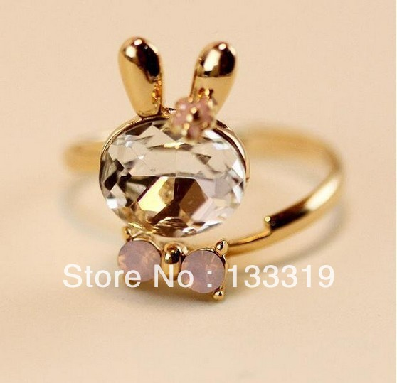 Korean super cute adorable ring ring color crystal Bunny bow open! New Fashion free shipping(China (Mainland))