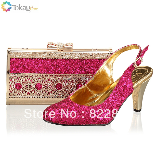 Woman shoes,Fuchsia pink Italian shoe and bag to match with free shipping fashion shinning stones for wedding,Size38-41,,SB8725,