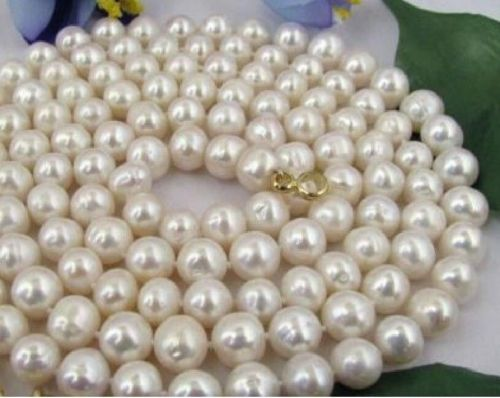 FREE SHIPPING *****14K 32 INCH 9-10MM NATURAL SOUTH SEA GENUINE WHITE PEARL NECKLACE (A0322)<br><br>Aliexpress