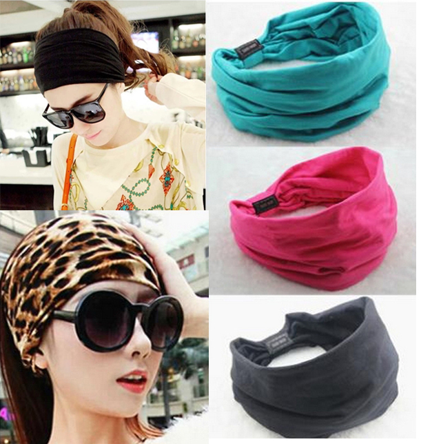 1 Piece New Style Wide Cotton Elastic Sport Women Headbands Hair Accessories Turban Headwear Bandage On Head Hair Band Bandana(China (Mainland))