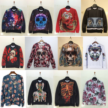 New ! 3D Hoodies women/Men 2015 fashion Skull print Hoodies o neck winter Sweatshirts clothes Harajuku top Free shipping(China (Mainland))