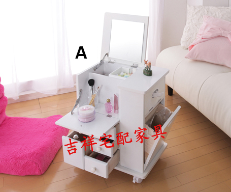 furniture cosmetic storage box cabinet dressing table with cosmetic mirror jewelry storage cabinet mobile sofa side cabinet(China (Mainland))