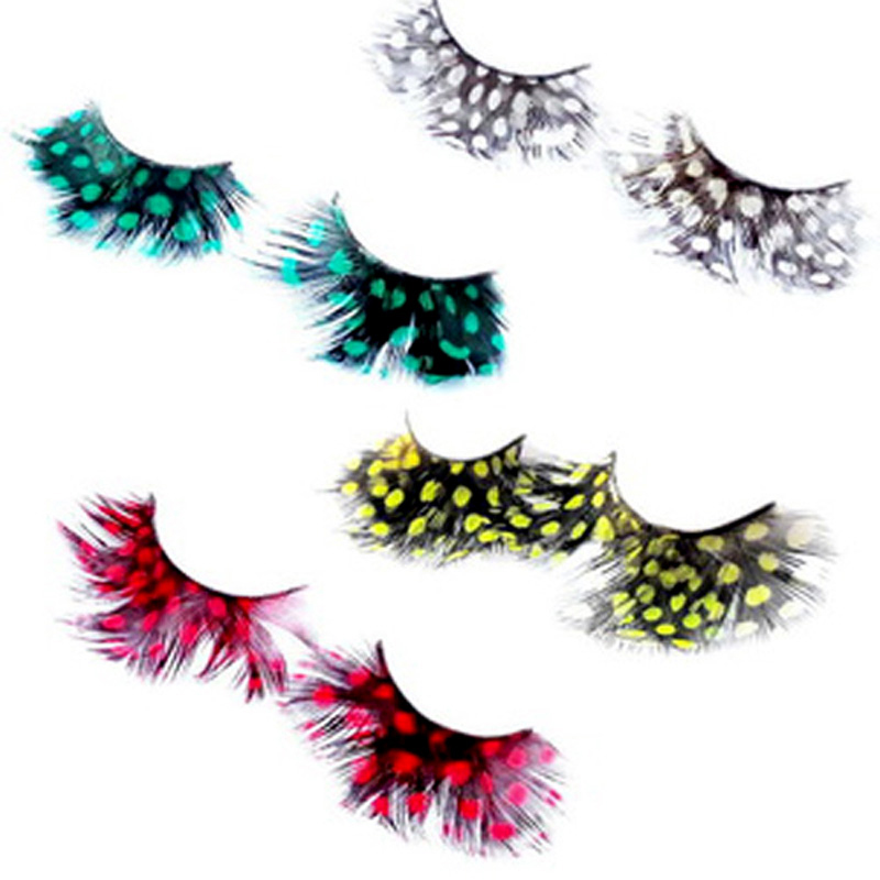 2Pair Natural Feather False Eyelashes Dot Ball Polka Dot Feather False Eyelashes Fake Eye Lashes Party Eye Make Up(China (Mainland))