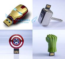 Marvel's The Avengers 4gb 8Gb 16gb 32gb personalized metal USB Iron Man / Thor / Captain America / Hulk Hero USB Flash Drive 64g