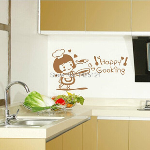FREE SHIPPING !! 2014 self adhesive stickers Happy kitchen furniture restaurant cute cartoon wall sticker for home decoration(China (Mainland))