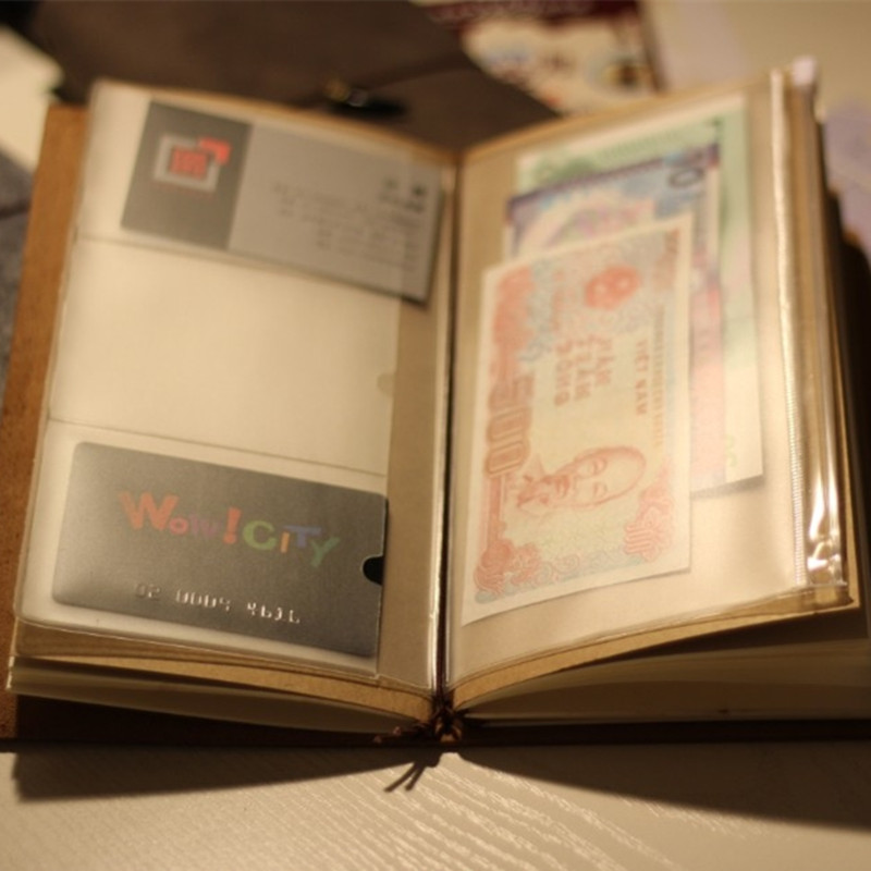 Travelers notebook traveler diary pvc zipper sheet protector business card storage bag 2pcs / set(China (Mainland))