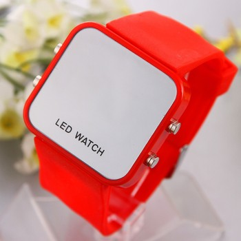 Unisex LED Watch Mirror Silicone Sports style wristwatches New 2015