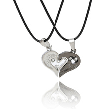 2Pc/Set Silver Lover Couple Pendant Necklaces Women Love Heart Choker Necklace Collier Femme Perle Bijoux Femme Jewelry (China (Mainland))