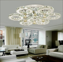 Modern LED K9 Lustre Crystal Chandelier Lights Flush Mounted Bedroom Living Room Stainless Steel Lighting Fixture Luminaria(China (Mainland))