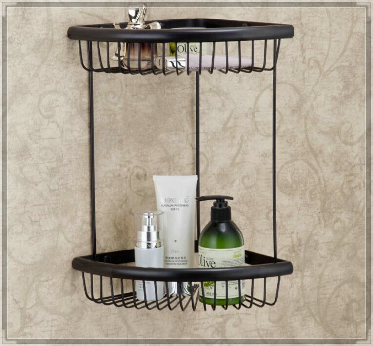 Oil Rubbed Bronze Dual Tier Bath Corner Shelf Storage Cosmetic Basket Holder water bathroom faucet(China (Mainland))