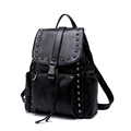 Korean Style Rivets Preppy Style Backpack Women New Trendy Solid Color Fashion Backpack Designer Drawstring Buckle