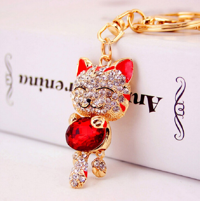 Lucky Cat Crystal Rhinestone keychain keyring for car key chain bag charm accessories chavei Creative Novelty gifts(China (Mainland))