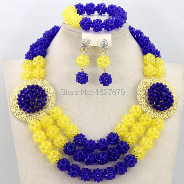 Здесь можно купить  Ladies braided crystal beads jewlry set include necklace, earrings, bracelet in YELLOW + ROYAL BLUE. African wedding jewlry set.  Ювелирные изделия и часы