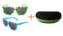 Minecraft Action figure toys creeper pixel glasses Novelty Mosaic Cosplay toy sungalsses with case fashion children gift(China (Mainland))