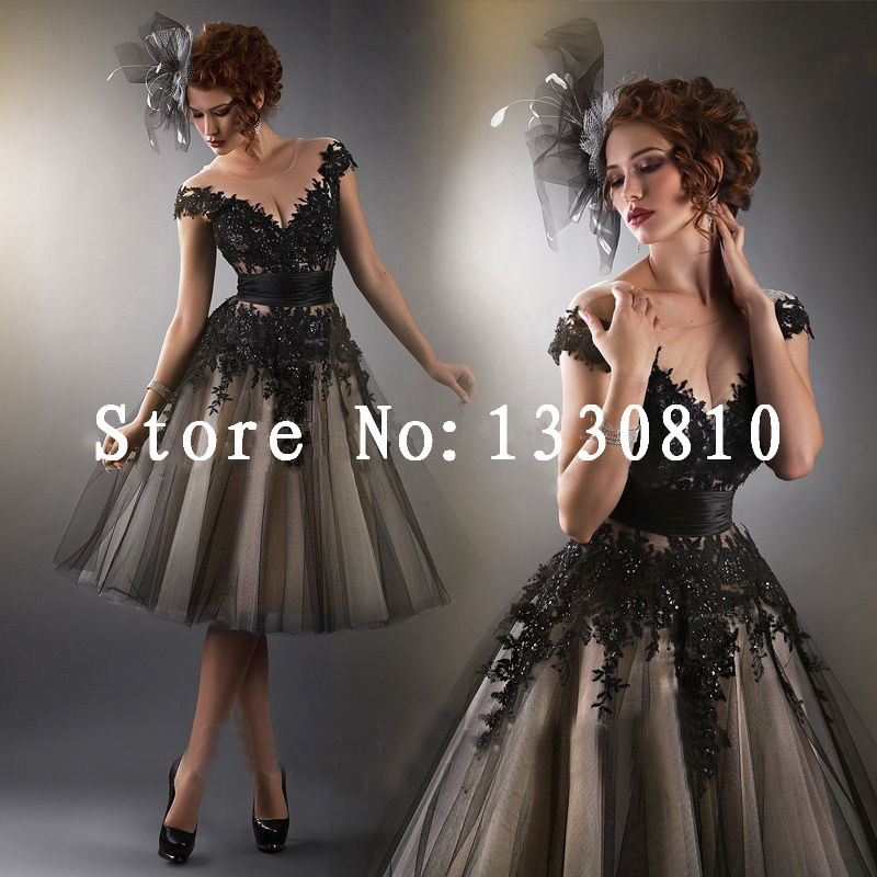 2015 New Graceful Ball Gown High-neck Short Sleeve Crepe Knee-length Floor-length Prom Dresses Black Appliques Custom Made - Dinnes Stone store