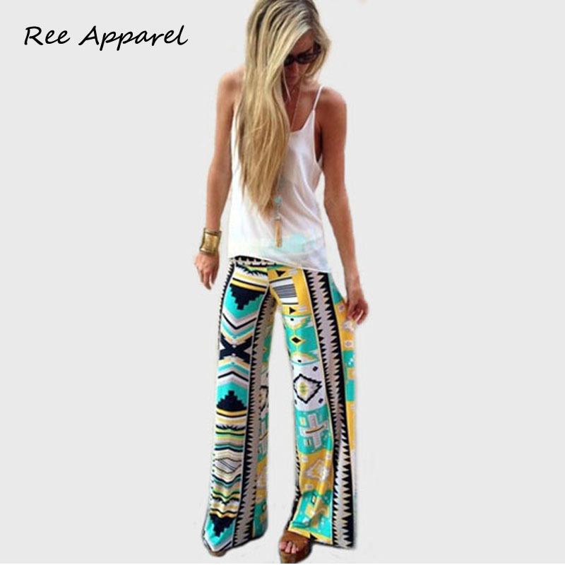 2015 Summer New Fashion Women Long trousers wide leg casual Vintage loose trousers Pants floral printed bell bottoms wholesale(China (Mainland))