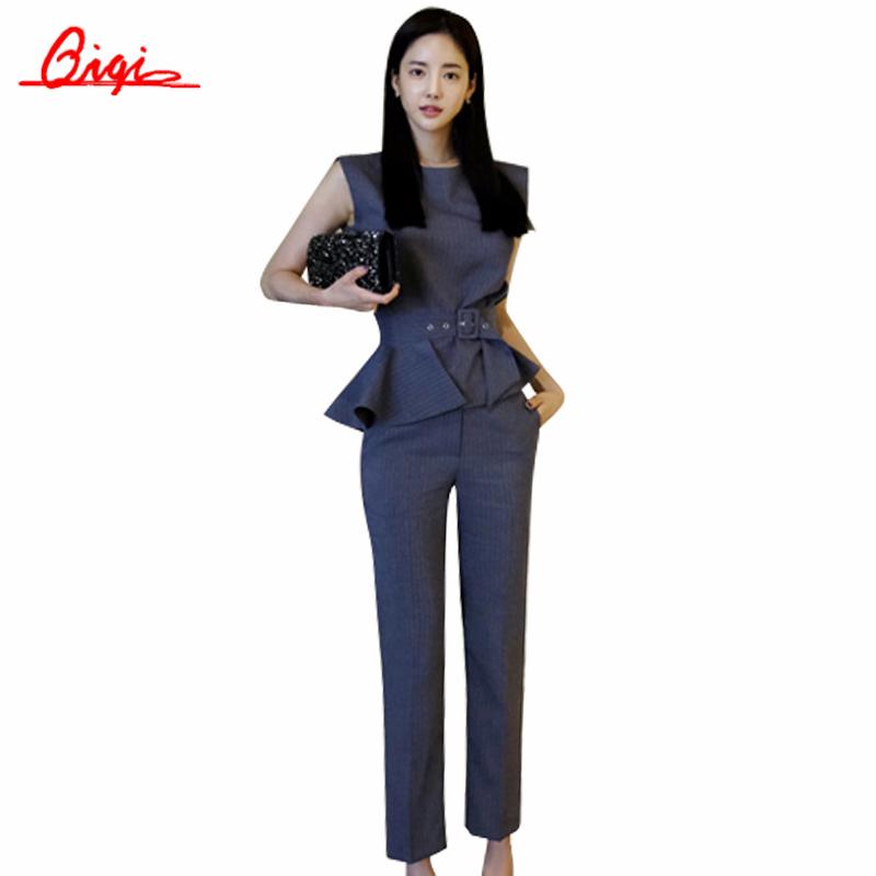 Beautiful 2016 Autumn Women Business Suits Formal Office Pants Suits Work Wear 2