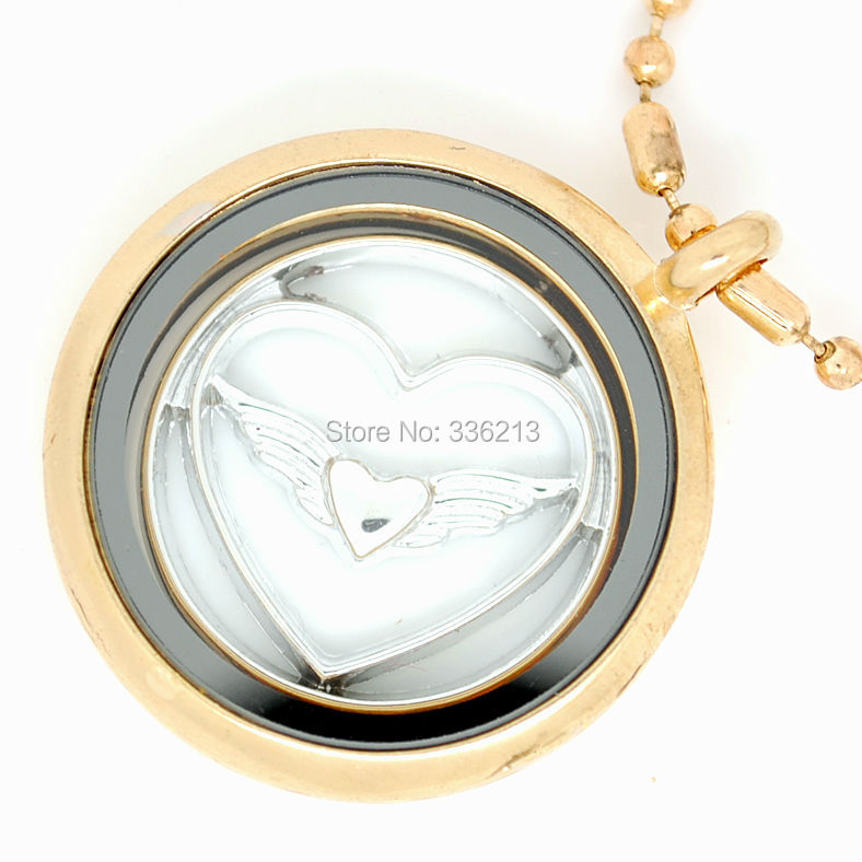 30mm Floating Locket Necklace in Light Gold Color, Fits Window Plates, Floating Charms, Birthstones(China (Mainland))