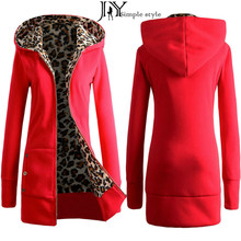 Plus Size M-XXL 2016 Autumn Winter Fashion Womens Leopard Printed Zipper Up Hooded Coat Jacket Long Sleeve Outwear Sweatshirt Z(China (Mainland))