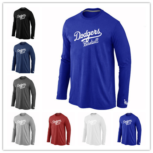 Hot Los Angeles Dodgers Baseball t shirts Long Sleeve O-Neck Cheap Tees Shirts Fashion DodgersCotton Practice T-shirt 14 Colors(China (Mainland))