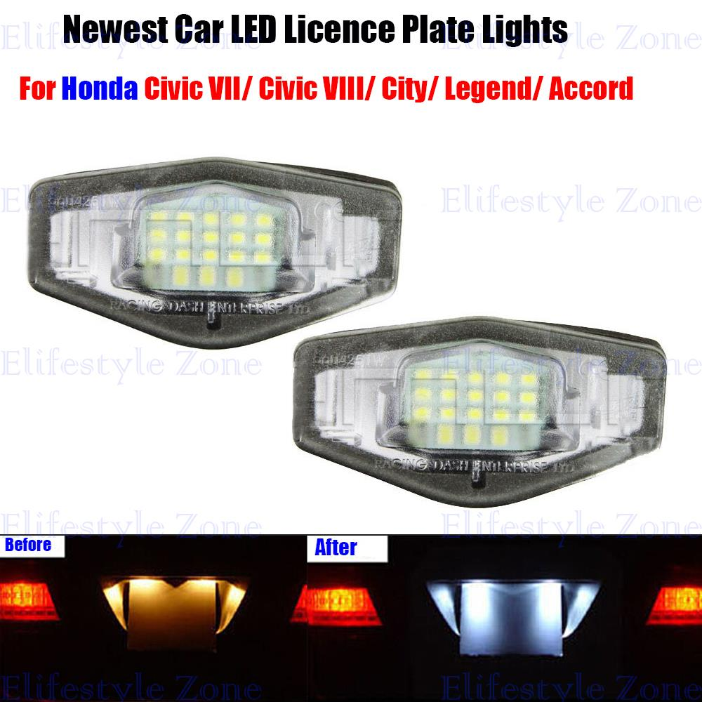 2 x LED Number License Plate Lamps OBC Error Free 18 LED For Honda Civic City Legend Accord(China (Mainland))