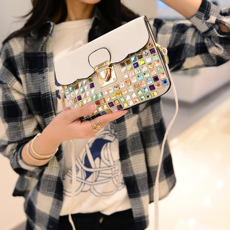 Donne Borse A Tracolla Sac A Main Femme De Marque Bolsos De Mano Women Summber Multicolor Rhinestone Handbag(China (Mainland))