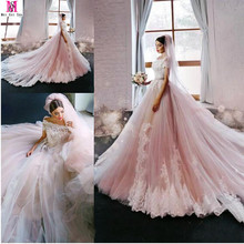 2017 New Blush Pink Elegant Princess A-Line Wedding Dress Off The Shoulder Cap Sleeve Lace Applique Luxury Bridal Gowns(China (Mainland))