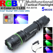 RA-601REF 5 mode CREE XM-L RGBW 4 color in 1 LED( red blue green white ) Police torch Tactical Flashlight(China (Mainland))
