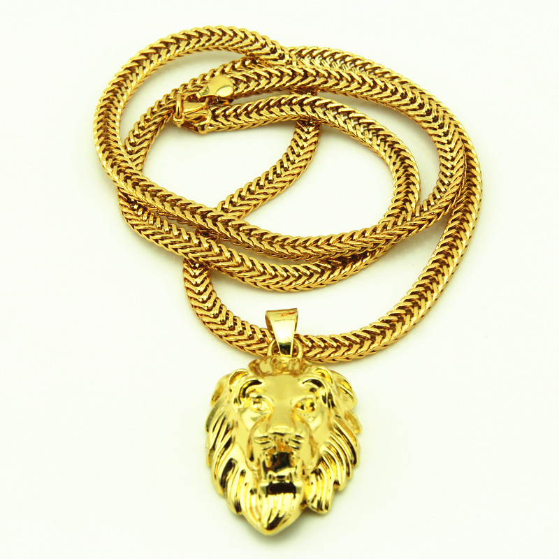 New Iced Out Bling Lion Head Animal Pendant Hip Hop Necklace<br><br>Aliexpress