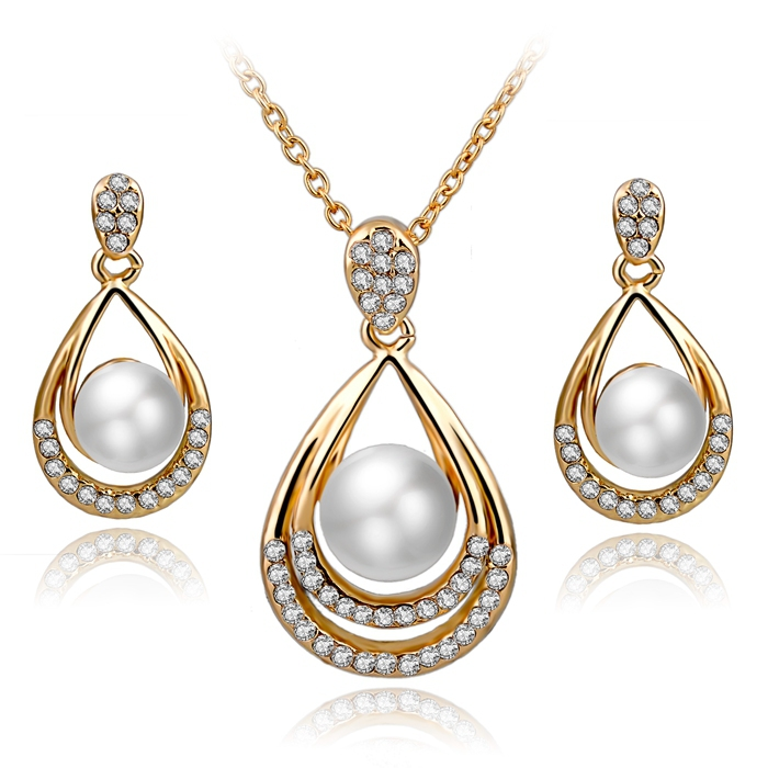 Fashion Pearl Jewelry For Women 18k Gold Plated Bridal Wedding Accessories Jewelry Sets Crystal Earrings Necklace Set SET140029(China (Mainland))