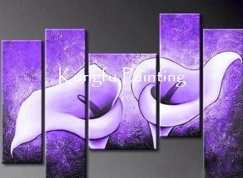 100% hand painted discount framed flower painting lily 5 piece canvas art home decor unique gift 5 piece canvas art(China (Mainland))