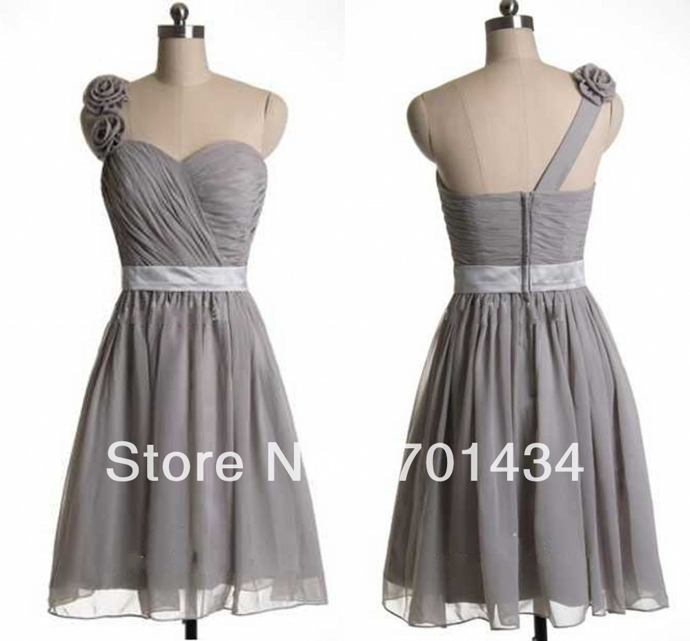 Free Shipping Grey Bridesmaid Dress One Shoulder With