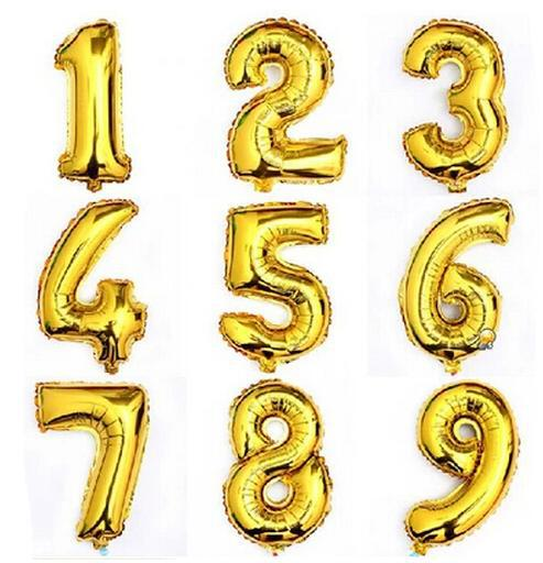 New 2016 Hot 32inch Gold Number Balloon Aluminum Foil Helium Balloons Birthday Wedding Party Decoration Celebration Supplies(China (Mainland))