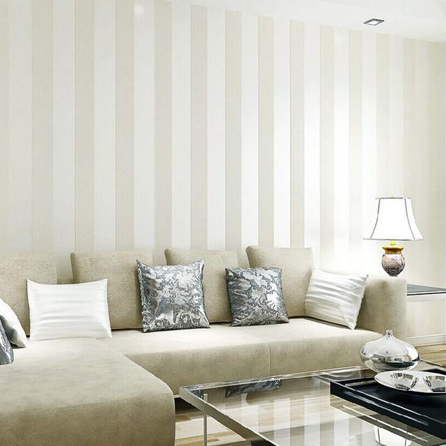 Modern silver glitter white striped wallpaper for wall flocked living room wall paper roll for Silver wallpaper living room