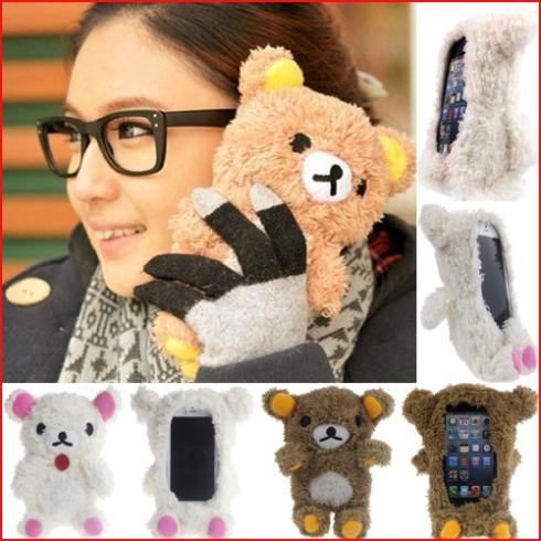 Brand New Fashion 3D Lovely Teddy Bear Doll Toys Cool Plush Cover Case Apple iphone 4 4S 5 5s 5C - niuniu Store store