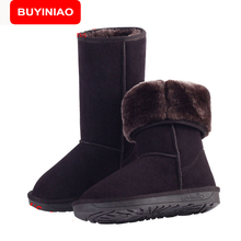 BUYINIAO 2017 New Arrival Shoes Women Boots Solid Slip-On Soft Cute Women Snow Boots Round Toe Flat with Winter Fur Boots 5815(China (Mainland))