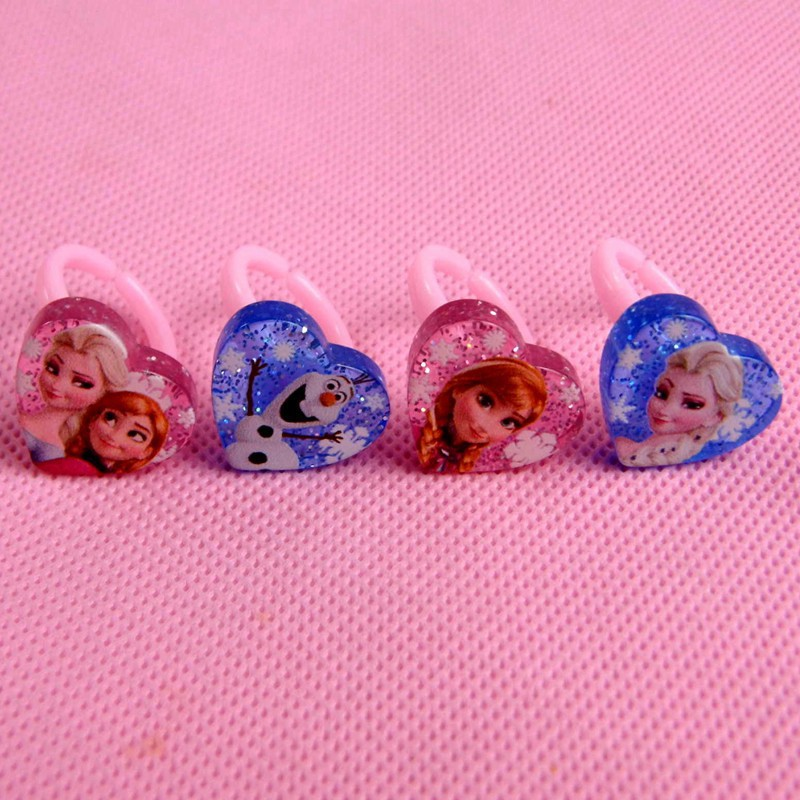 4pcs/lot Elsa Anna Clip Ring Crystal Plastic Children Olaf Elasticfor Girl Fashion Character Claws(China (Mainland))