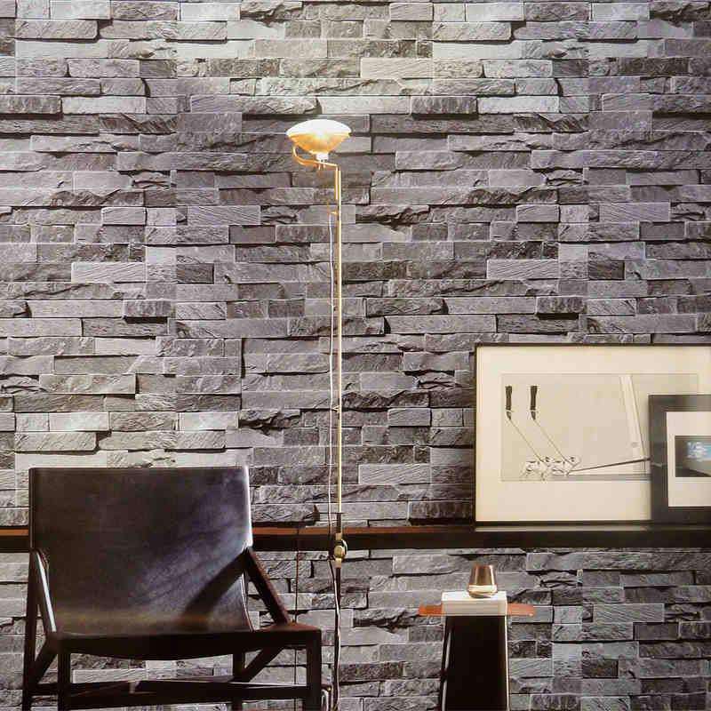 Moderne behang vinyl pvc 3d bakstenen muur decor grijs geel rood muurschildering behang rollen - Grijs muurschildering ...