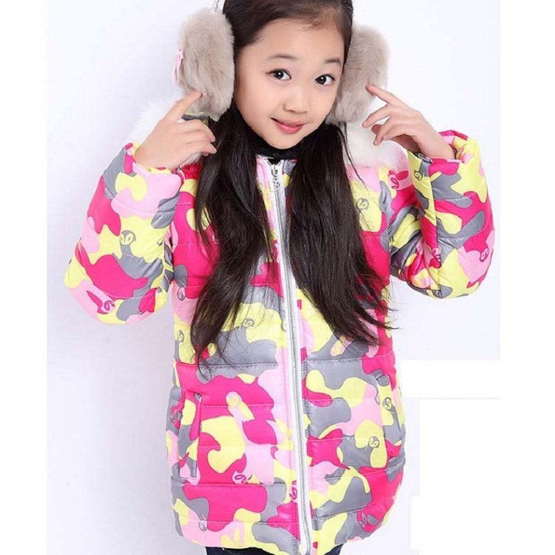 2015 New Girls Camouflage Thick Cotton Jacket Hooded Fur Children Parkas Warm Winter Outerwear Kids, RC247 - Rising Kid store