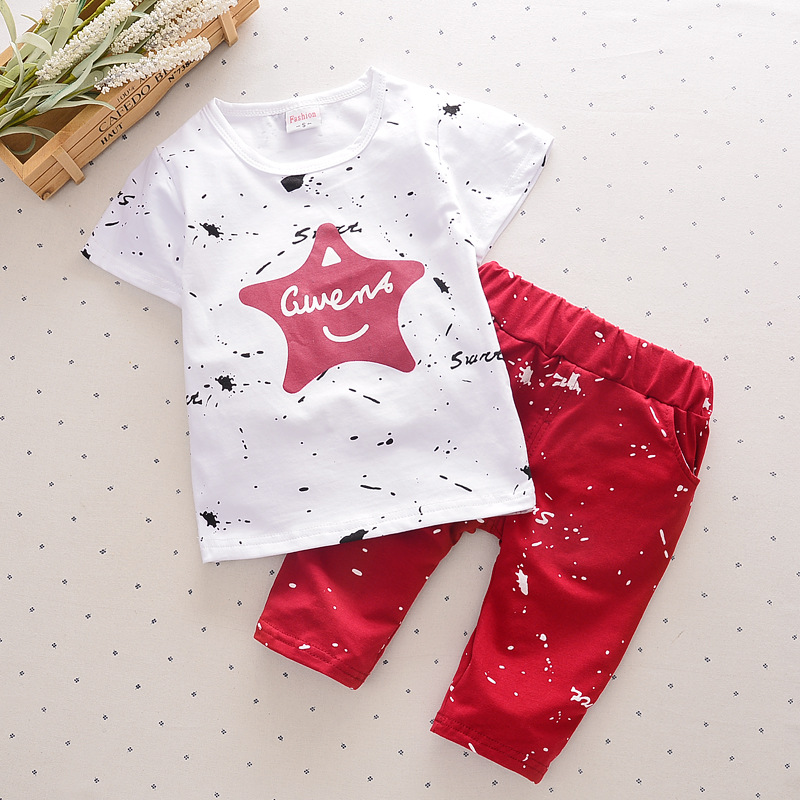 Summer Kid Boy clothes sets Cute Star short sleeve T-shirt with Print cropped trousers suit girls sets causal clothes(China (Mainland))