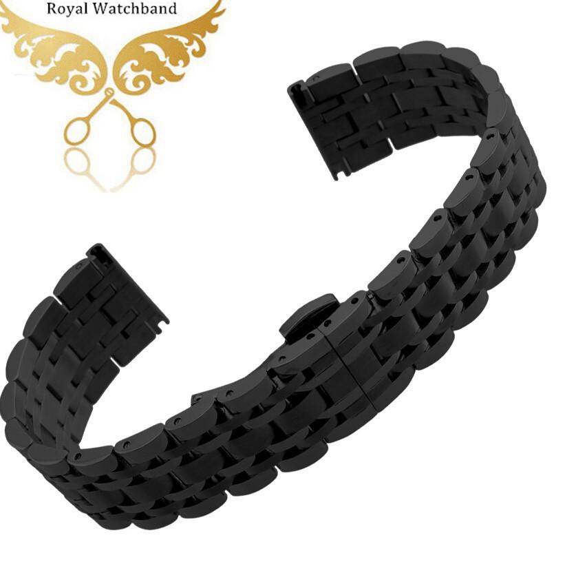 Часы полоса 22 мм черный нержавеющей стали замена ремешок группы браслеты для умных часов