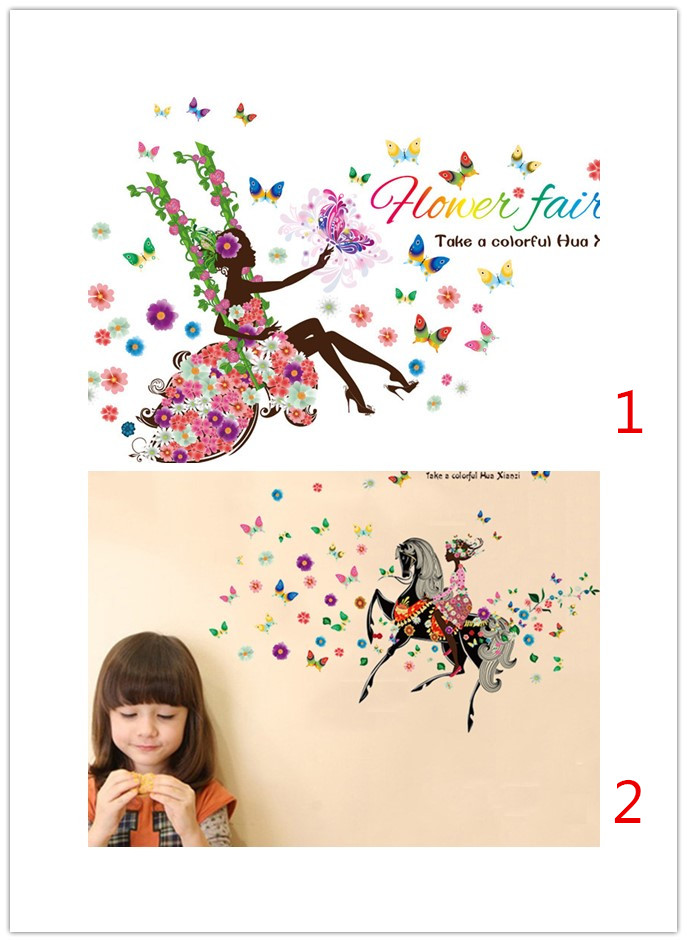9004 9005* Flower fairy riding horse swing in buttlefly flower forest bedroom living room home decor wall sticker as gift kids(China (Mainland))