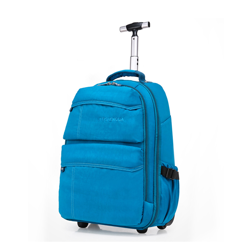 Single trolley backpack adult double shoulder strap round trolley travel computer bag canvas school bag luggage(China (Mainland))