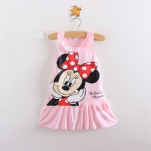 Free Shipping New 2016 Kids baby girl dress cute cartoon children Dress baby Clothes lovely girls