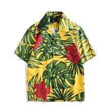 Мужские рубашки 2019 мужская летняя рубашка повседневная с коротким рукавом мужские цветочные рубашки Гавайи Повседневная печать пляж празд...(China)