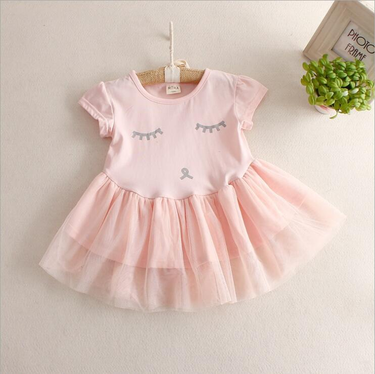 Retail new 2016 summer children's clothing girl gauze chiffon dresses baby girl dress shy princess tutu expression(China (Mainland))