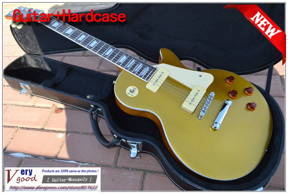 New! China guitar -1956 custom gold top with P-90 pickups electric guitar With hard case EMS free shipping(China (Mainland))