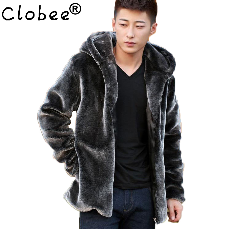 Fashion Mens Faux Fur Coats Faux Mink Coat Men Hooded Luxury Winter Leather Suede Jacket Men Biker Pelts Male Jackets Blue(China (Mainland))