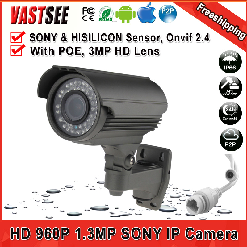 1/3 Sony 1.3 Mp 960P waterproof IP66 security network Outdoor IP camera 2.8-12mm Manual Zoom Lens support POE Power Supply<br><br>Aliexpress